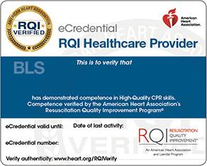 RQI BLS Healthcare Provider eCredential